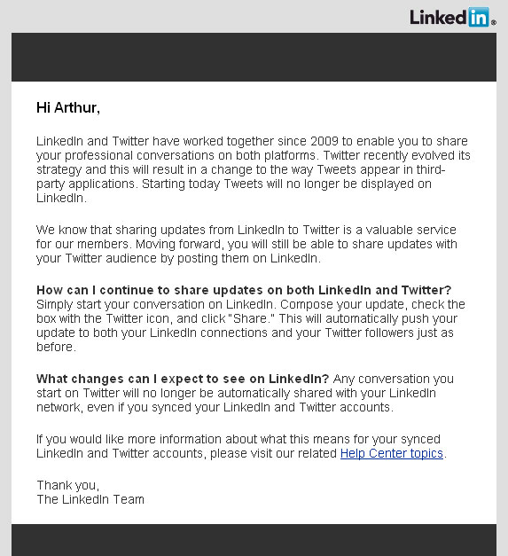 LinkedIn's Letter on Sharing with Twitter